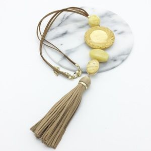 Chico's Leather Tassel Statement Necklace